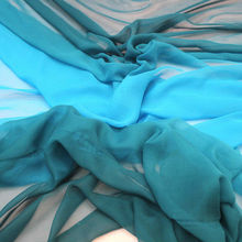 Teal Two Tone Silk Georgette Chiffon for Women Evening Dressmaking from Silk Manufacturer Vollrun