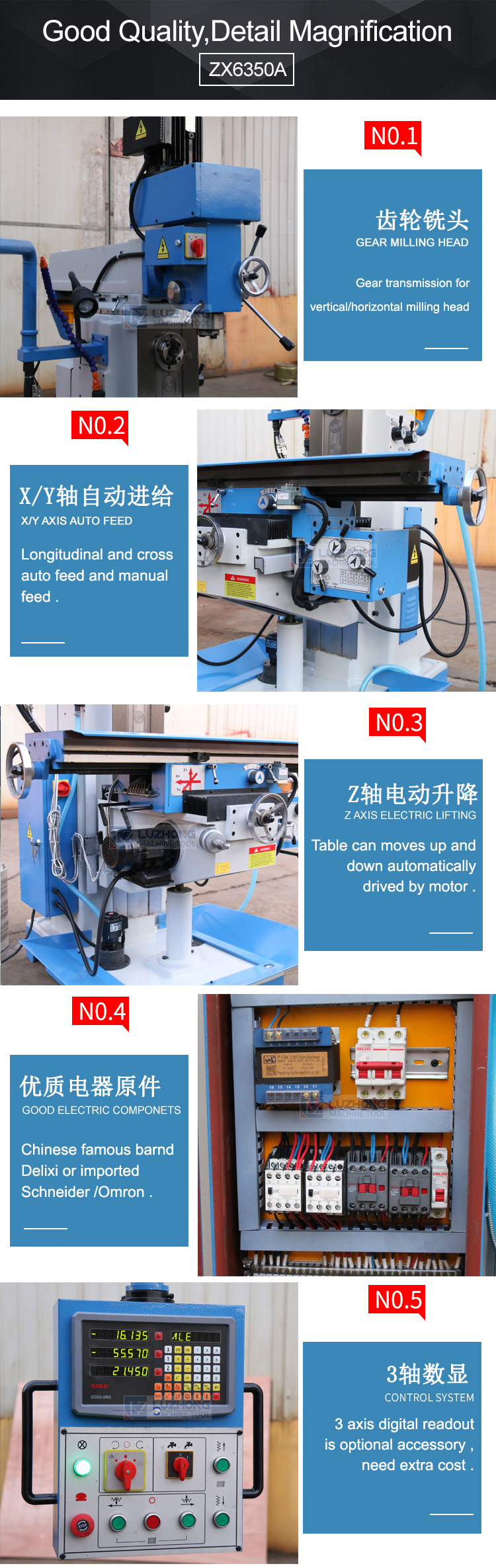 Universal Milling ZX6350A/C/D/S Milling and drilling Machine From China