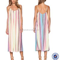 Rainbow colorful women wholesale long summer dress vest tank dress long skirt dress