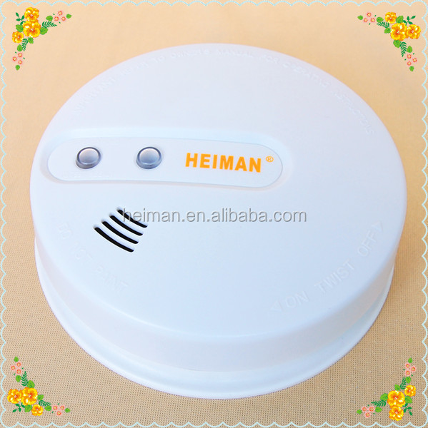 2015 Hottest EN AC 220V+DC 9V mains ac smoke detector with hard wire and battery