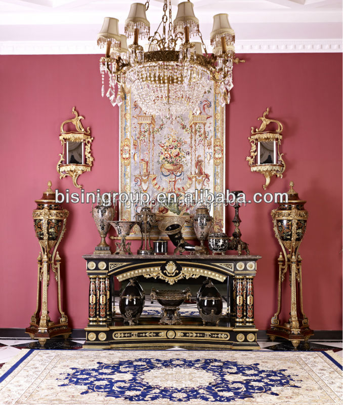 European Luxury And Distinguished Hand Painted Baroque Console Table, With Brass Porcelain Home Decoration Set BF06-1001