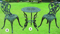 The rose pattern Cast aluminum modern bistro set(LD-036)
