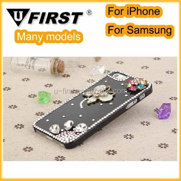 Newest style bling PU leather flip case for iphone 4s, Handmade bling case