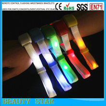 Hot selling party radio control led wristbands,RFID chip inside radio control led flashing wristbands for sports events manageme
