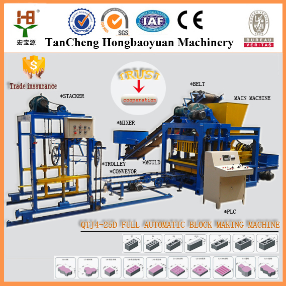 QT4-25 fully automatic cement brick making machine price in india /stabilized soil fly ash brick machine price list for sale