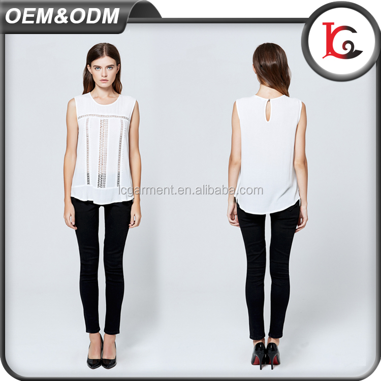 2017 guangzhou factory price white rayon lace sleeveless hollow out blouse casual women cheap china wholesale clothing