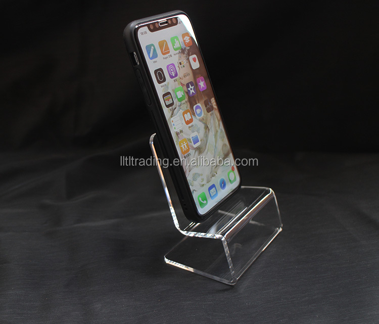 Beach chair shape acrylic mobile phone display stand clear bending mobile phone stand custom phone holder suitable for iphone