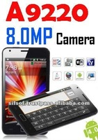 A9220 phone GSM+WCDMA Dual Cards Android 4.0 Wifi Analog TV Java GPS Capacitive Touch Screen 3G Dual Cameras: 8.0 MP Camera