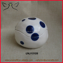 Jewelry Trinket Box Ball Shaped Ornament box Porcelain with blue dot