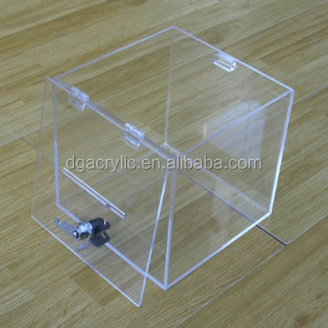 Exquisite acrylic customized coin/exhibition/ storage /donation box
