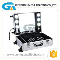 High quality rolling makeup case with lights