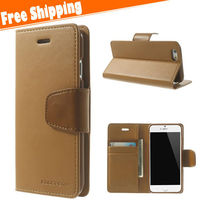 Flip Leather Wallet For iPhone 6 Plus, For iPhone 6 Plus Leather Case,Genuine brand name logo Leather Case Cover