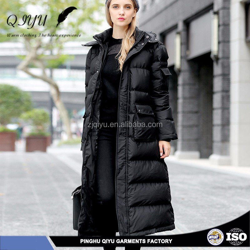 Customize apparel stocklots ladies long winter down coat design