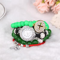 wholesale china 2014 fashion multi strand nylon beaded womens watch bracelet