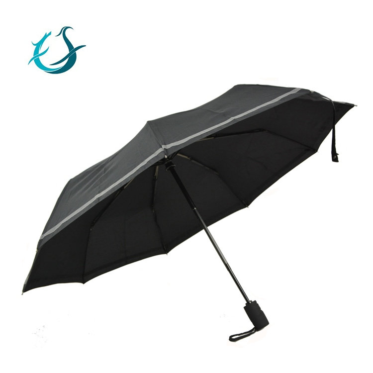 9 ribs reflective stripe windproof safe 3 fold automatic umbrella