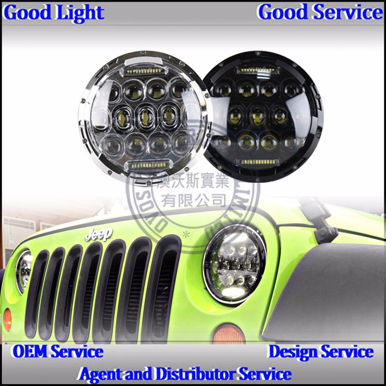 "2016 hot sales 4X4 ATV accessory 7"" 75W off road tractor led driving headlight j-eep w-rangler jk"