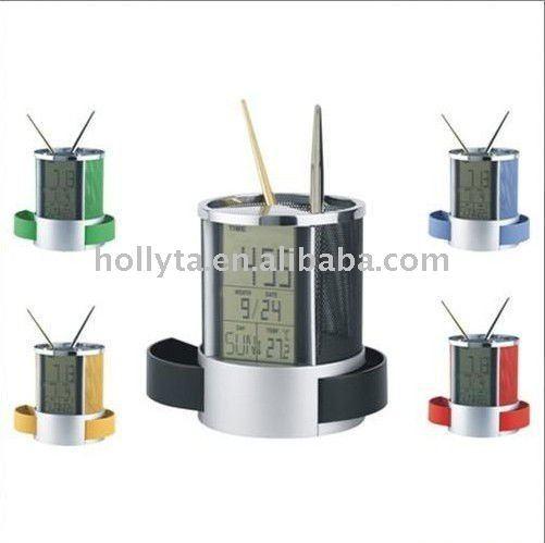 penholder for promotional gifts Multifunction calendar with clock penholder new penholder