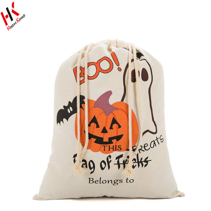 Durable Cotton Large Shopping Bag Drawstring Halloween Bags Wholesale