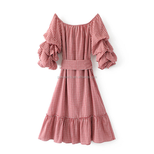 AL2895W Hot sell sweet plaid dress ruffles lantern sleeve vestidos casual dress clothes women ladies