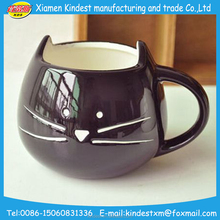 Ceramic black cat design animal shaped cup