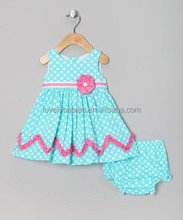 100% cotton aqua dress with bloomers baby clothing sets baby dress