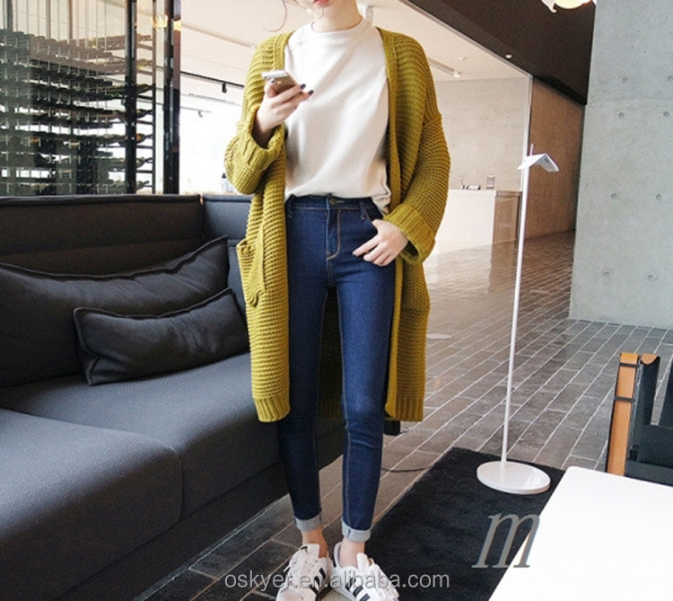 2017 ulzzang Girl Casual Long Knitted Cardigan Autumn Korean Women Loose Solid Color Pocket Design Sweater Jacket Pink Beige