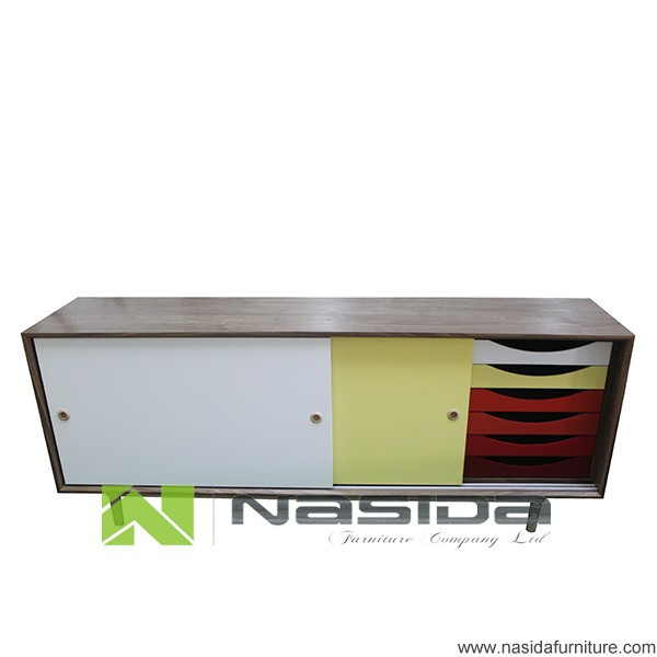 ND535 A modern Finn Juhl sideboard 7 drawer Red colorful cabinet