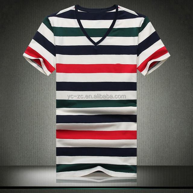 mens new design cheap price rainbow striped v neck short sleeve fancy t shirt
