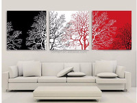Best Selling Cheap Price Modern Abstract Trees Oil Painting Black White And Red Group Oil Painting For Wall Decoration