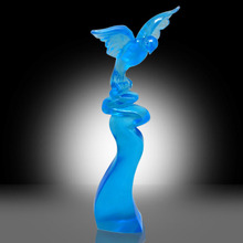Light blue Color eagle statue trophy For sale