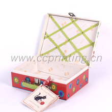 fashion locked red paper gift packing box cardboard briefcase
