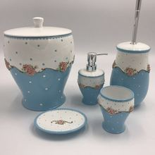 Blue flowers resin Bathroom Sets Accessories for home