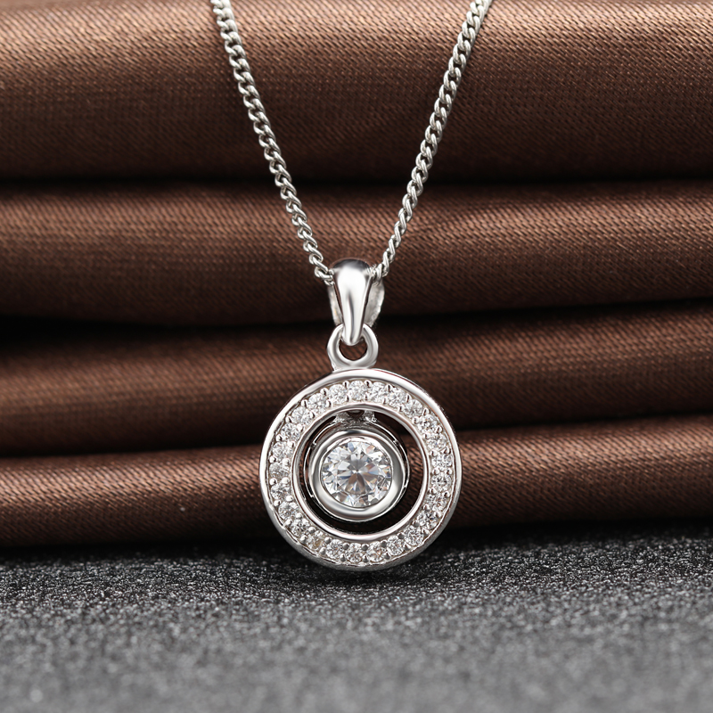 fashion round shape necklace pendant, rhodium plating stainless steel pendant