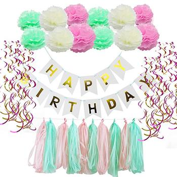 Amazon Hot 63pcs/set Banner Tissue Paper Balloon Tassel Garland For Party Happy Birthday Decoration