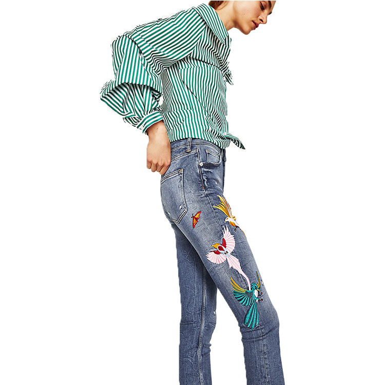 Flying bird embroidery pattern jeans Blue skinny jeans