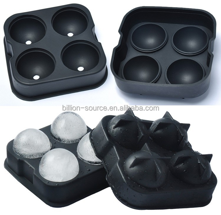 Four Hole Spherical Silica Gel Ice Mould Whiskey silicone Ice Ball Maker Mold Flexible Silicone Ice
