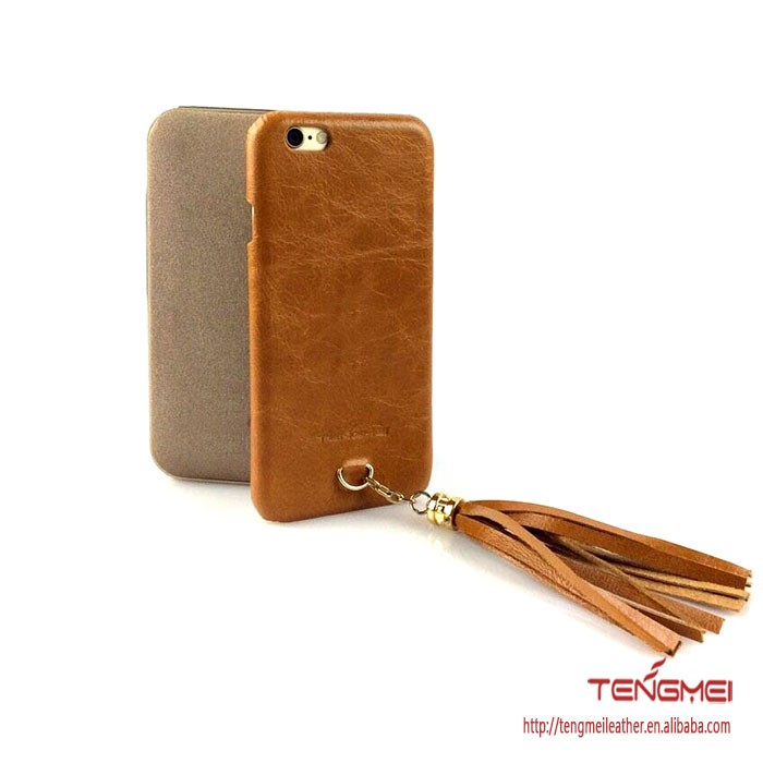 leather phone cover with tassel for iphone 6s phone cover