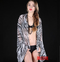 Spring Summer Autumn Winter Women Girl Multi Color Zebra Stripe Long Chiffon Shawl Scarf Pashmina