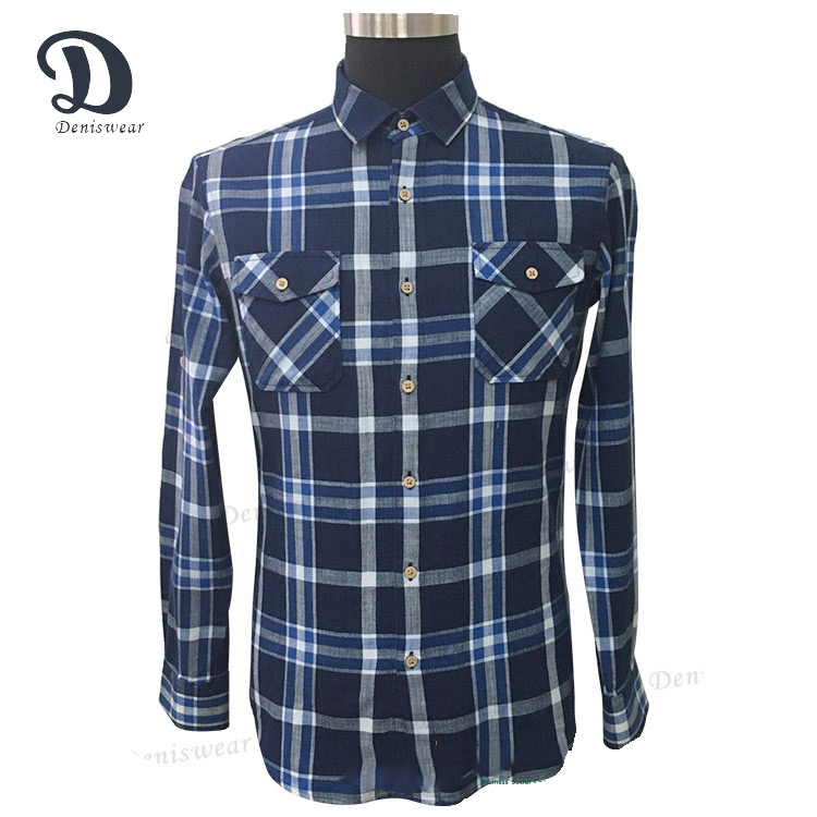 New arrival men square collar 100% cotton flannel shirt