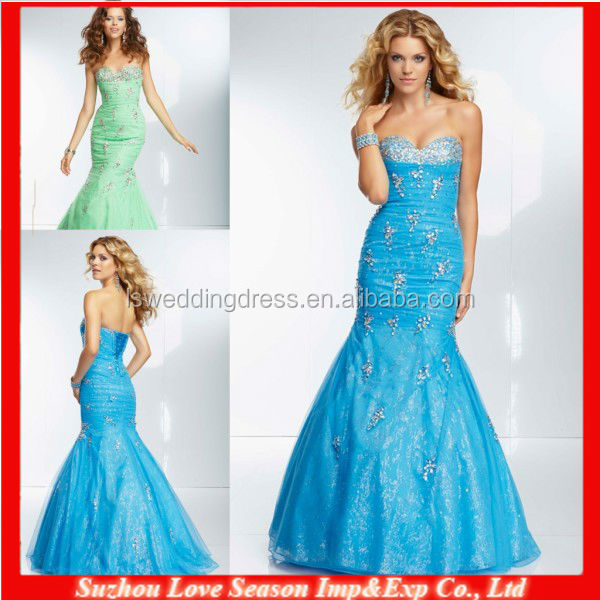 HE2020 Beaded glitter mesh diamonds top pleated organza floor length lace up back long 2014 sexy beaded mermaid prom dresses