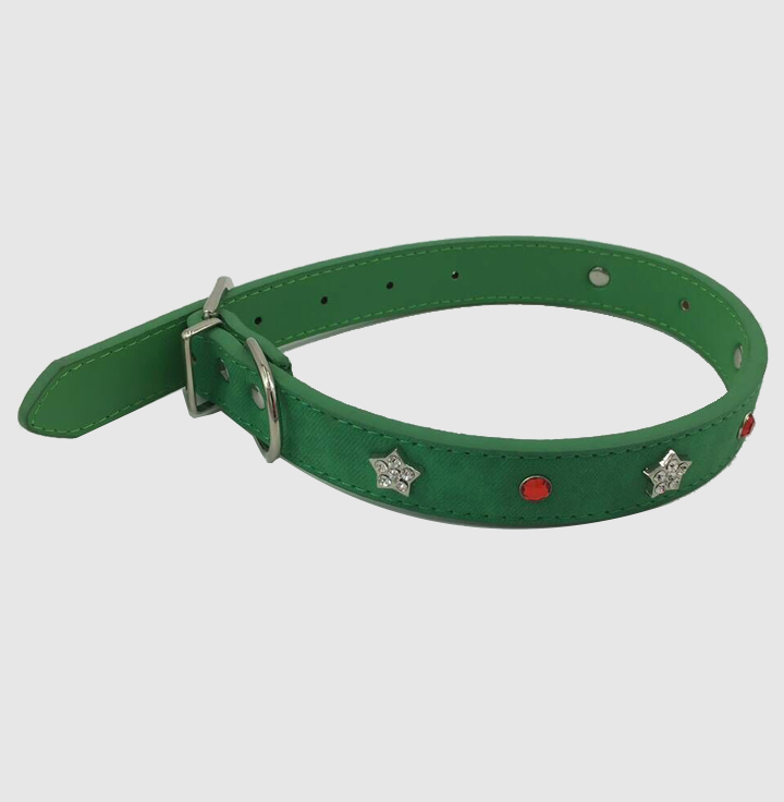 Wholesale unique star and dot studded leather green dog collar led