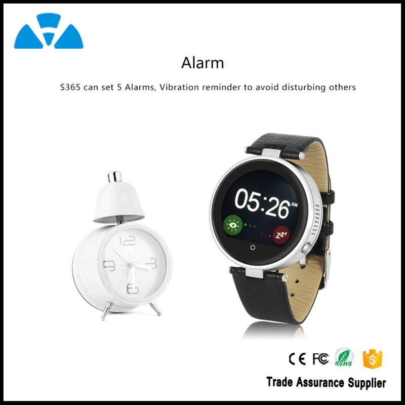 IOS & Android Bluetooth 4.0 Round Smart Watch S365 with SOS/G-sensor/Voice/Speaker for apple iphone 6 plus/6 Samsung S6 edge/S5
