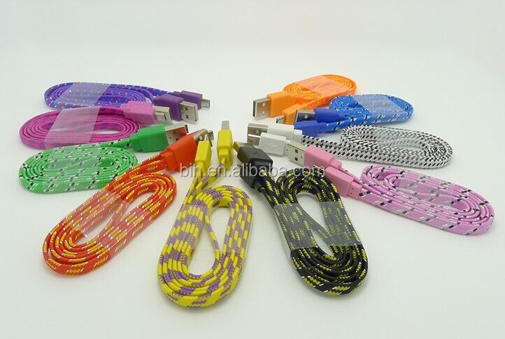 Various High Quality Cheap 1 meter Flat Braided Noodle 5 Pin Cable
