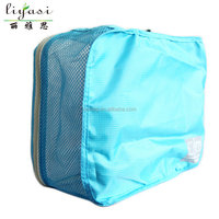 wholesale custom hot fashion foldable blue polyester travel bag duffle bag with net for teenager school student or traveling