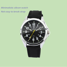 Minimalistic Watch Dial Stainless Steel Back Classic Quartz waterproof silicone watch