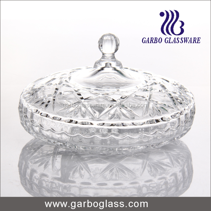 Machine pressed big glass sugar bowl with lid
