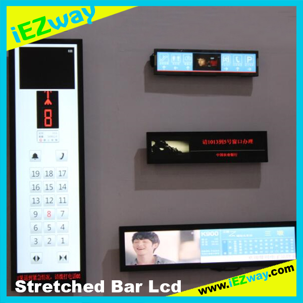 2017 iEZway Hot Selling China Factory Alibaba Com 14.9 19 28 32 38 42 inch Advertising Custom Stretched Bar Lcd