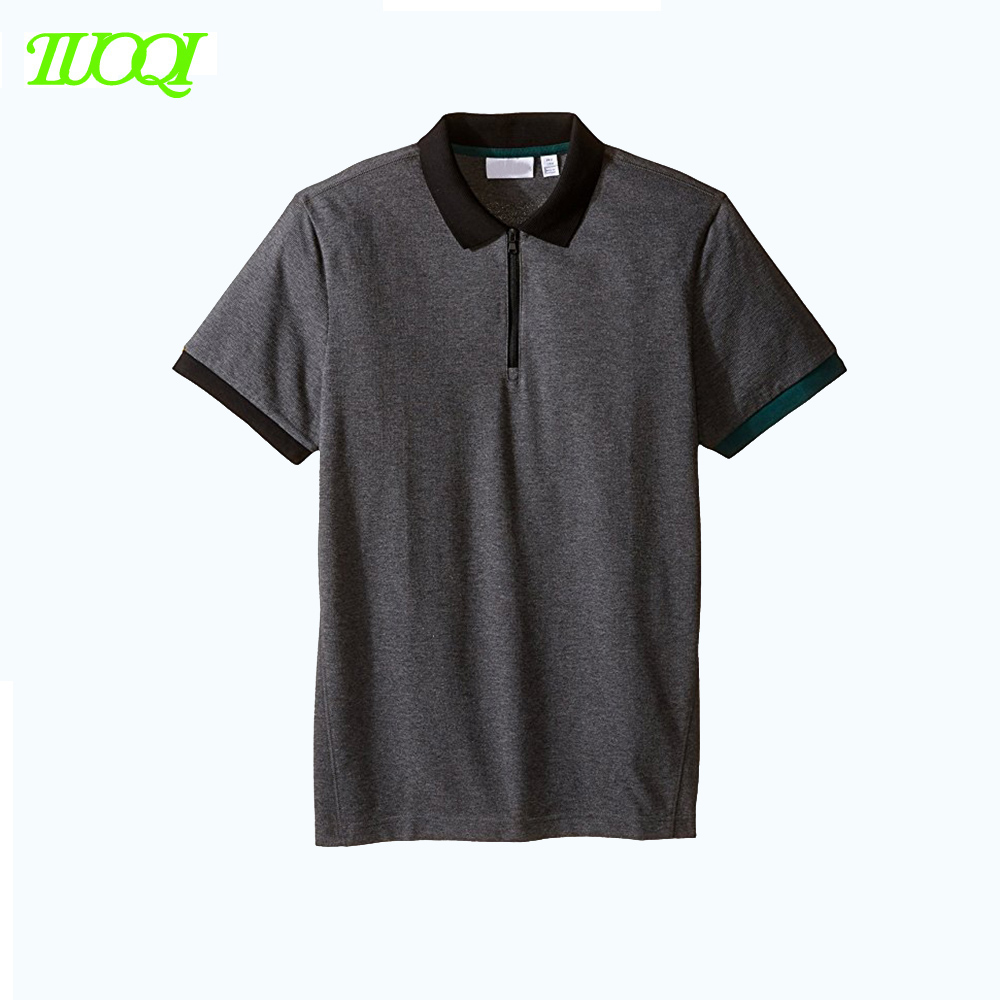 HK Street Style High Quality Zipper-Up Design Dark Grey Color 220Gsm Business Casual 100%Cotton Polo Shirt