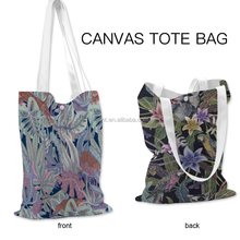 wholesale foldable heat transfer printed sublimation canvas tote bag
