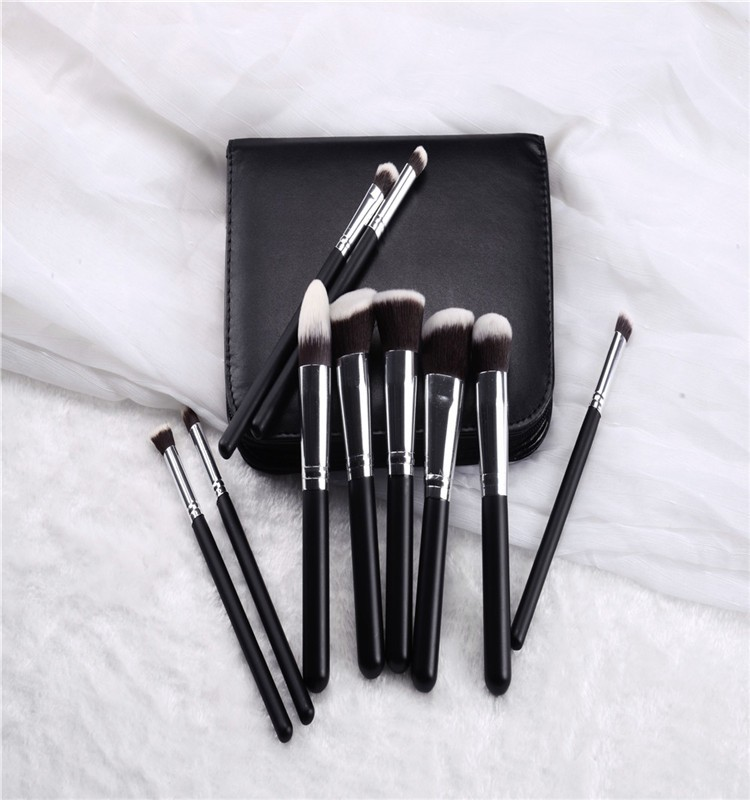 Hot sale 10pcs kabuki black makeup brush set,Silver cosmetic powder brush in makeup brush 10pcs